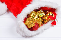 Christmas hat with decorations Stock Images