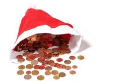 Christmas hat full of euro money coins Stock Photography