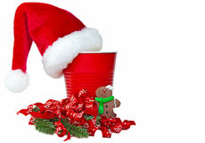 Christmas hat on party cup Stock Photos