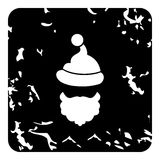 Christmas hat pompom and beard of Santa Claus icon. Grunge illustration of Christmas hat pompom and beard of Santa Claus vector icon for web Stock Images