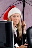 christmas hat professional wearing woman Στοκ φωτογραφίες με δικαίωμα ελεύθερης χρήσης