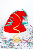 Christmas hat with ribbons and confetti Royalty Free Stock Photography