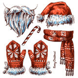 Christmas hat, scarf and mittens. Stock Photo