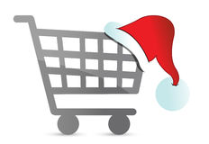 Christmas hat on a shopping cart Royalty Free Stock Images