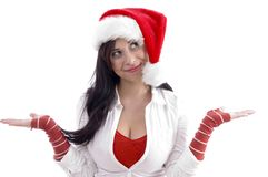christmas hat smiling wearing woman Στοκ φωτογραφία με δικαίωμα ελεύθερης χρήσης
