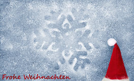 Christmas hat, snowflake, fiber fabric and glitter film, background Stock Photos