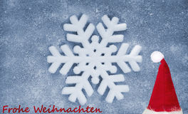 Christmas hat, snowflake, fiber fabric and glitter film, background Stock Images