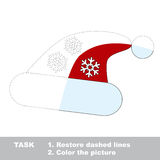 Christmas hat to be colored. Vector trace game. Stock Photos