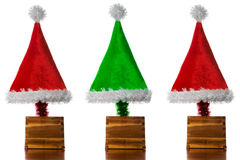 Christmas Hat Trees Royalty Free Stock Photo