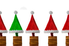 Christmas Hat Trees Stock Photography