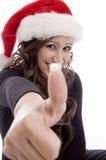 christmas hat wearing woman Στοκ φωτογραφία με δικαίωμα ελεύθερης χρήσης