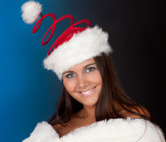 Christmas hat on winter girl Royalty Free Stock Photography