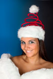 Christmas hat on winter woman Royalty Free Stock Photo
