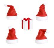 Christmas Hats And Christmas gift Royalty Free Stock Photo