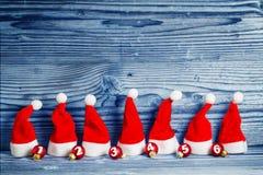 Christmas hats, Christmas tree balls Stock Photography