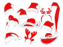 Christmas hats Collection Stock Image