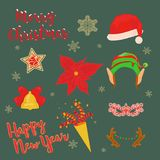 Christmas hats and ornaments. Christmas stickers for a photo. Vector set of Christmas hats and ornaments Stock Image