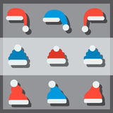 Christmas hats. Set of flat christmas hats Stock Photography