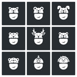 Christmas hats Vector Icons Set. Carnival hats Vector Isolated Flat Icons collection on a black background Royalty Free Stock Photo