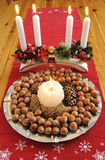 Christmas hazelnuts table decoration Stock Images