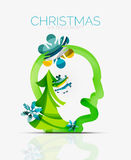 Christmas head concept. Modern holiday user design Stock Photo