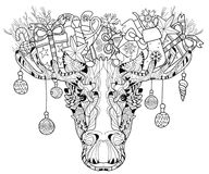 Christmas head of elk layered vector illustration Royalty Free Stock Photography