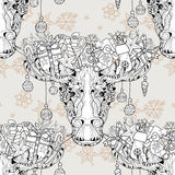 Christmas head elk seamless pattern vector Royalty Free Stock Images