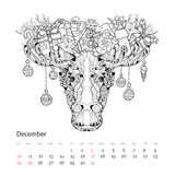 Christmas head of elk vector illustration Stock Image