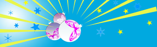 Christmas header. Christmas web site header with stars and ball with butterfly Stock Images