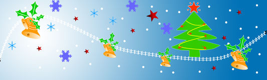 Christmas header. Christmas web site header with tree,stars bells and snowflakes Stock Photos