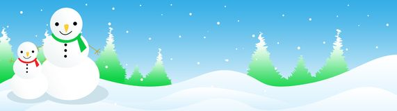 Christmas Header / Banner. Clean blue snowman and falling snow Christmas Web site header and banner Stock Photography