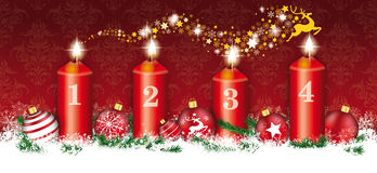 Christmas Header Card Red Ornaments 4 Candles Reindeer Stardust Royalty Free Stock Image
