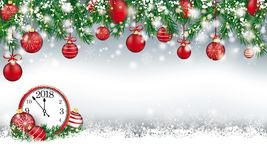 Christmas Header Green Twigs Snow Baubles Clock 2018. Gray christmas card with with snow, baubles clock 2018 and lights Royalty Free Stock Image