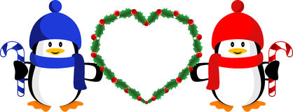 Christmas heart. Cute happy cartoon penguins with Christmas heart, isolated. Vector illustration stock illustration