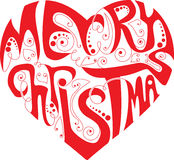 Christmas heart. Merry Christmas heart with curly elements Stock Photography