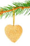 Christmas heart bauble on a pine branch Stock Images