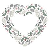 Christmas heart composition flat vector. Simple light tone frame background, represents an heart shape composed of some stylized naturals items illustrations Royalty Free Stock Images