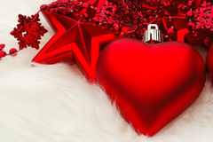 Christmas Heart Decoration. On white fur Stock Photography