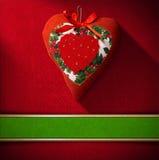 Christmas Heart Decoration on Red Velvet Stock Photography
