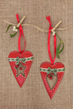 Christmas Heart Decorations Stock Photos