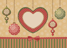 Christmas heart frame with ornaments Stock Photos