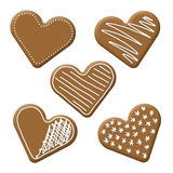 Christmas heart gingerbread. With white sugar topping Stock Images