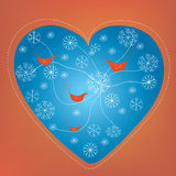 Christmas heart holiday card with snow Royalty Free Stock Image