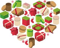 Christmas heart made of gift boxes Royalty Free Stock Photography