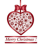 Christmas heart made with snowflakes. Stock Photo