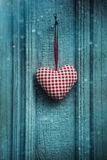 Christmas heart ornament hanging on door Royalty Free Stock Photography