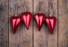Christmas heart ornaments Stock Photos
