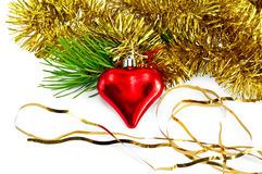 Christmas heart with pine branch Royalty Free Stock Photo
