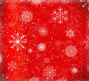 Christmas heart. Red christmas background with ice crystals and snow flakes vector illustration