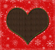 Christmas heart. Red christmas background with heart shape and snow flakes royalty free illustration